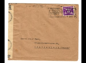cover Amsterdam - West1942 to Dietzenbach, Zensor OKW
