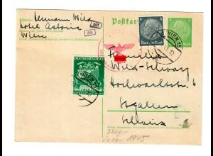 Ganzsache Wien 1941 nach St. Gallen, OKW Zensur