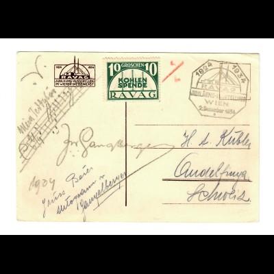 AK Radio Sender Bisamberg, Wien 1934, RAVAG Kohlenspende nach Gundelfingen/CH
