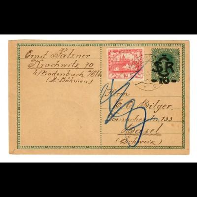 post card Krochwitz 1919 to Basel, retour