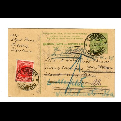 post card Subotitz 1927 to Berlin, forwarded