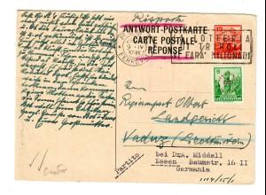 Antwort Postkarte von Rom nach Vaduz - weiter nach Essen, 1937