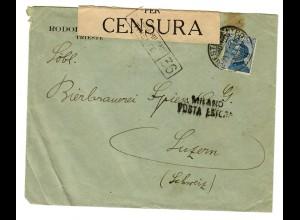 Militärzensur Triest /Milano nach Luzern/Schweiz 1919