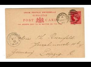 post card Gibraltar 1895 to Leipzig