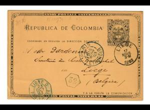 Bogota post card 1893 to Liege/Belgium via french ship post