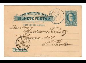 Post card 1889 Rio de Janeiro to Sao Paulo