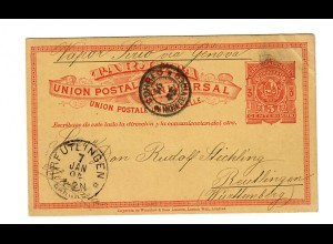 Post card 1904 Montevideo to Reutlingen/Germany