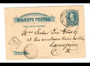 Post card 1891 Rio de Janeiro to Larangerias