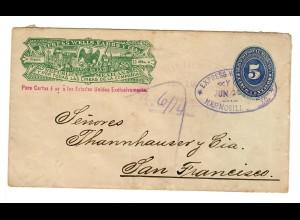 post card Wells Fargo Hermosill 1893 to San Francisco