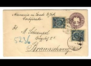 Registered (see reverse) Distrikt Federal to Braunschweig 1902