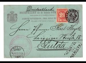 Briefkaart Surinam 1898 to Fulda/Germany