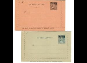 2x unused carte-letters BENIN