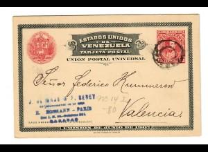 Ganzsache Caracas nach Valencia, 1908