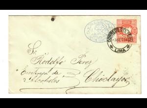 Ganzsache von Lima nach Chiclayo, kleines Nadelloch links der Wertziffer, 1894