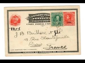 Ganzsache mit Zusatzfrankatur Caracas nach Paris 1904