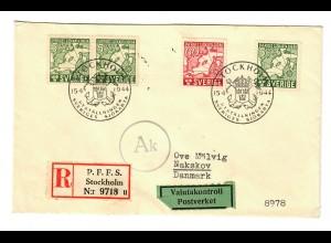 Einschreiben P.F.F.S. Stockholm nach Nakskov, Dänemark, Postkontrolle 1944
