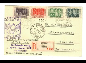 Ansichtskarte Einschreiben Utrecht I.T.E.P. FDC 1952 nach St. Gallen