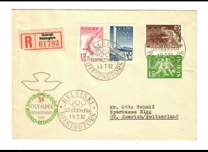 Einschreiben Helsinki 1952, Olympiade nach Zürich