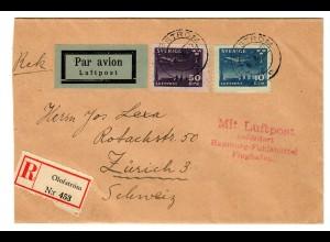 Einschreiben Air Mail Olofström 1932, Luftpost Hamburg-Fuhlsbüttel nach Zürich