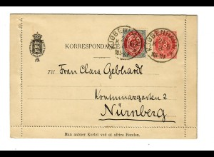 Kartenbrief Kobenhaven nach Nürnberg ,1892