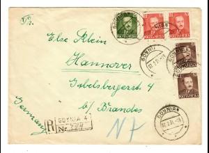 Einschreiben Gdynia 1951 nach Hannover