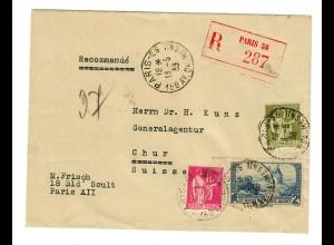 Einschreiben Paris nach Chur / Schweiz 1938