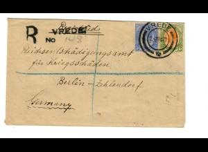Einschreiben Vrede nach Berlin - Entschädigung für Kriegsschäden 1923