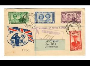 Einschreiben: Day of Arrival of Royal Familiy, Bremersdorp nach Johannesburg