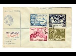 FDC UPU 1949 Mbabane nach Dunedin/New Zealand