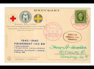 Postkarte Stockholm 1940 Rotes Kreuz