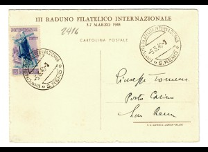 Ansichtskarte San Remo 1948, Filatelica