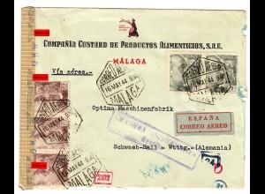 Luftpost Malaga nach Schwäbisch Hall, OKW Zensur,1940