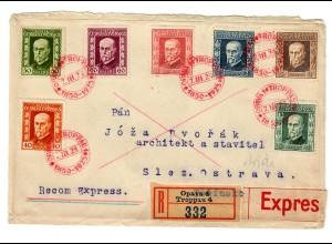 Einschreiben Opava, Eilbote 1925 nach Slez. Ostrava