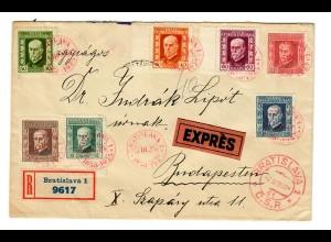 Einschreiben Eilboten Bratislava nach Budapest 1925