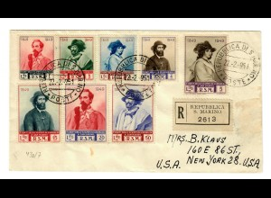 Einschreiben S. Marino nach New York USA 1951