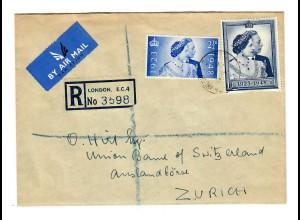 Einschreiben London via Luftpost nach Zürich 1948