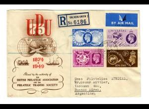 UPU, Einschreiben Golders Green 1949 nach Buenos Aires