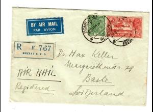 Einschreiben Bombay, Luftpost nach Basel/CH 1937, LLOYD Triestino