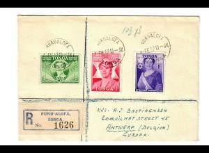 Einschreiben Nuku'Alofa / Tonga nach Antwerpen 1952