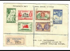 Einschreiben 1952 Nuku'Alofa / Tonga nach Antwerpen