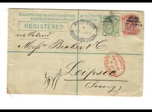 Einschreiben Bradford über London 1882 nach Leipzig