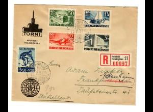 Einschreiben Helsinki 1939 nach Frankfurt/M, Weiterleitung Eckenheim