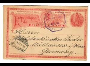 Ganzsache Guatemala 1898/99 nach Mühlhausen/El