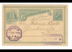 Ganzsache San José 1896 nach Guatemala