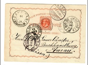 Ganzsache Campinas 1884 nach Aarau/Schweiz