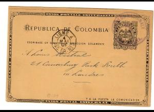 Ganzsache nach London 1901 über Französische Schiffspost