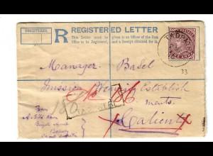 Einschreiben Brief Tadpatri 1896, Basel Mission