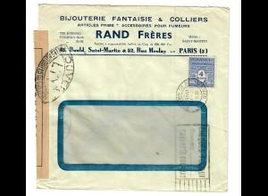 Brief Bijouterie Fantaisie Paris 1945 mit Zensur