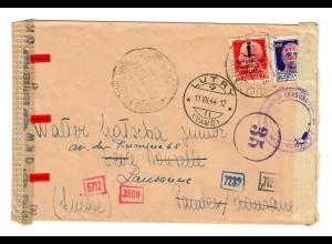Brief aus Italien in die Schweiz/Lausanne, Dt. und Ital. Zensur