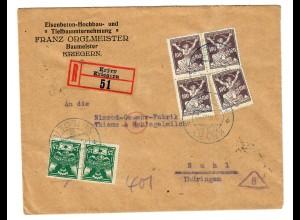 Einschreiben Kryry/Kriegern 1922 nach Suhl mit Devisenkontrolle